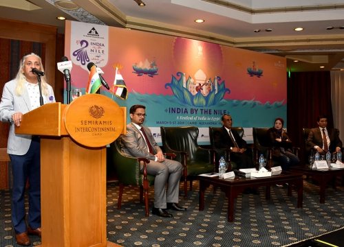Sanjoy K. Roy, MD- Teamwork Arts addresses the Press at the 7th TCI Sanmar Presents India by the Nile